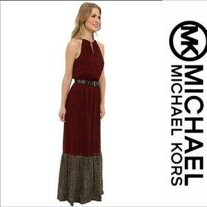 Michael kors maxi jersey chain halter dress XS